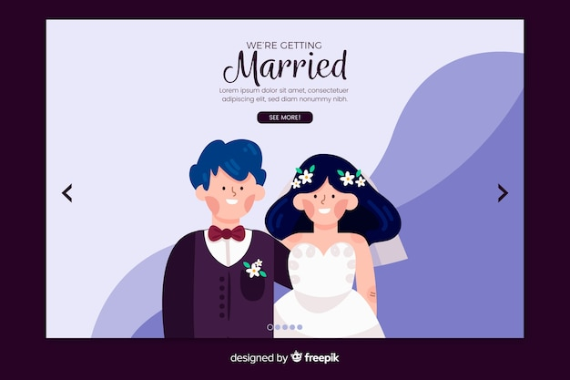 Lovely wedding landing page with illustrations template