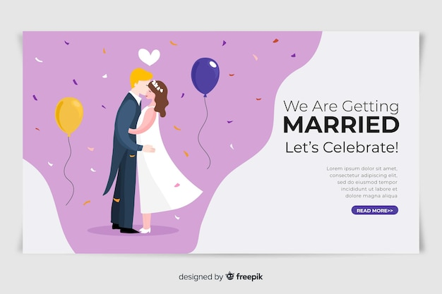 Lovely wedding landing page with illustrations
