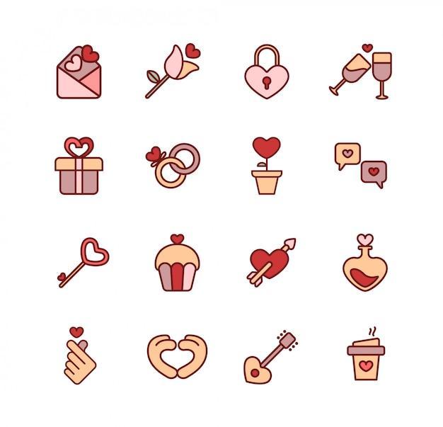 Lovely wedding pink icon and illustration set