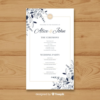 Lovely wedding program with elegant style