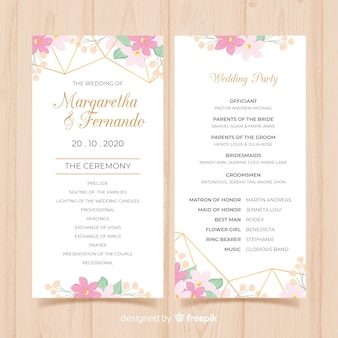 Lovely wedding program with flat design