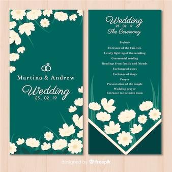 Lovely wedding program with flat design
