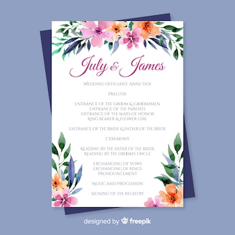 Lovely wedding program with watercolor flowers