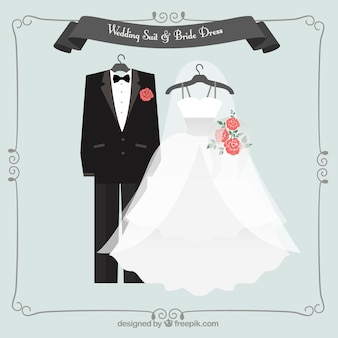 Lovely wedding suit and bride dress