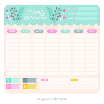 Lovely weekly schedule template with floral style