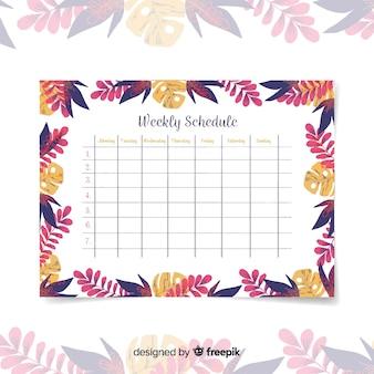 Прекрасный еженедельный шаблон расписания с цветочным стилем