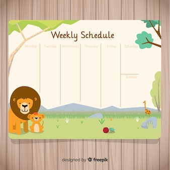 Lovely weekly schedule with flat design