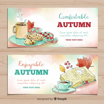 Lovely welcome autumn banners watercolors