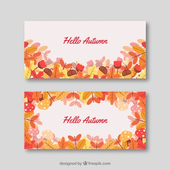 Lovely welcome autumn banners with flat design