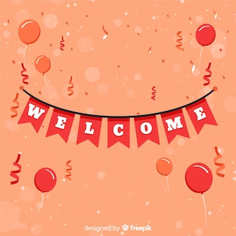 Lovely welcome composition with flat design