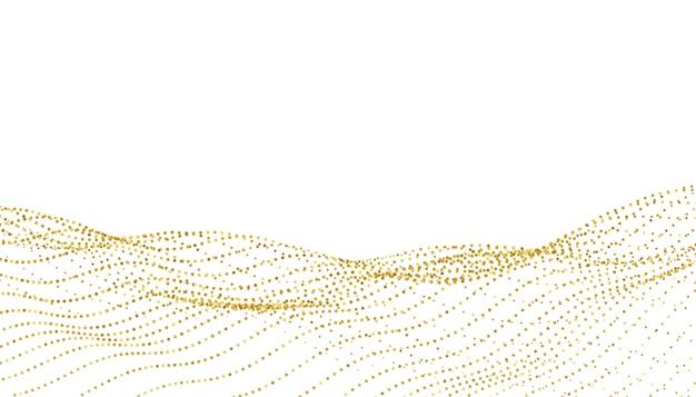사랑스러운 흰색과 황금빛 스파클 파도 배경