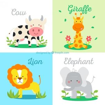 Lovely wild animals set