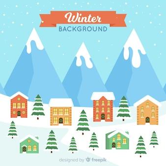 Sfondo invernale adorabile con design piatto Vettore gratuito