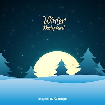 Lovely winter background with flat design