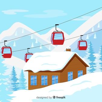 Прекрасная композиция зимнего пейзажа Бесплатные векторы