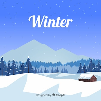 Lovely winter landscape with flat design