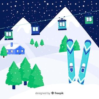 Прекрасный зимний пейзаж с плоским дизайном