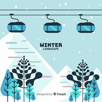 Paesaggio invernale incantevole con design piatto