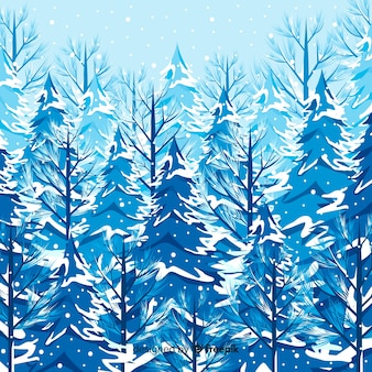 Lovely winter landscape with snowy trees