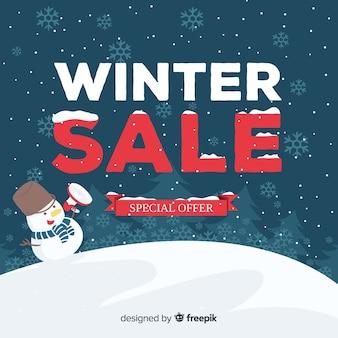 Прекрасная композиция зимней продажи с плоским дизайном