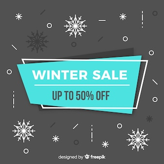 Lovely winter sale composition with flat design