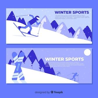 Прекрасные зимние спортивные баннеры с плоским дизайном