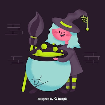 Lovely witch character with flat design