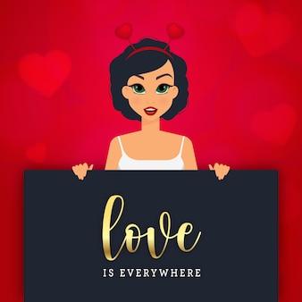 ハートと赤い背景の上のバレンタインデーのグリーティングカードを持つ素敵な女性