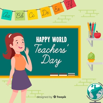 Lovely world teachers day composition with flat design