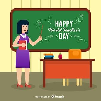 평면 디자인으로 사랑스러운 세계 교사의 날 구성