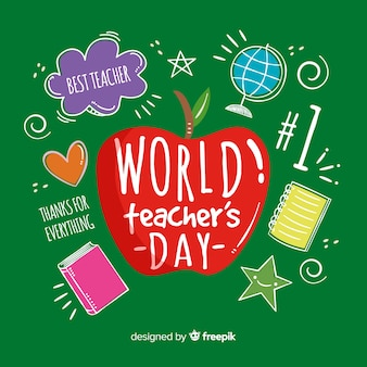 Lovely world teachers' day composition with hand drawn style