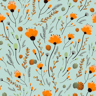 Lovely yellow flower seamless pattern over blue background