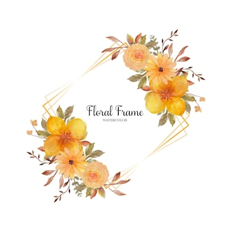 Lovely yellow rustic floral frame