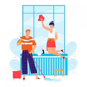 Lovely young married couple, character male female clean up room isolated on white, cartoon illustration. person together wash window.