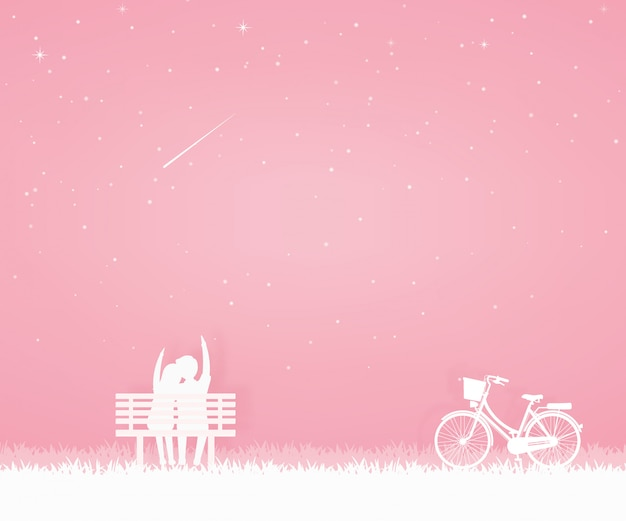 Lover come to the garden with bicycle and sit on the chair