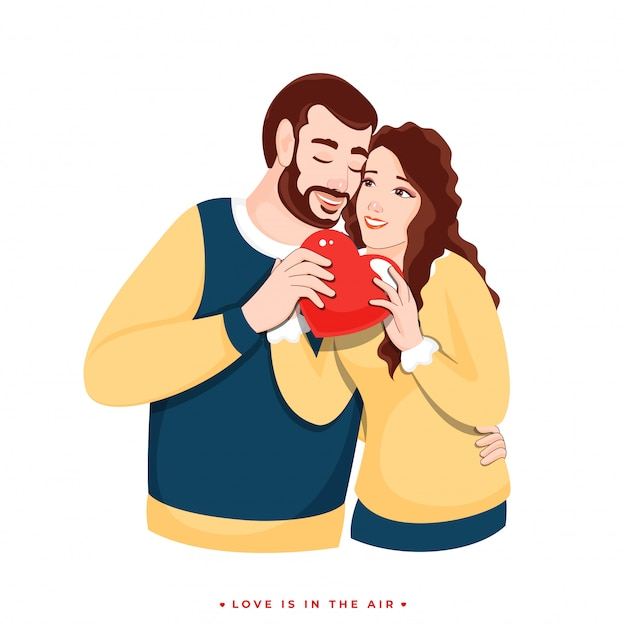 Lover couple character holding red heart  for love is in the air concept.