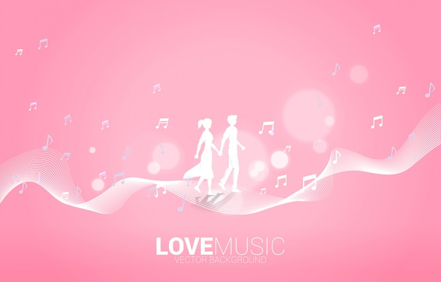 Lover couple holding hand walking music melody note dancing flow . concept background for love song and concert theme.