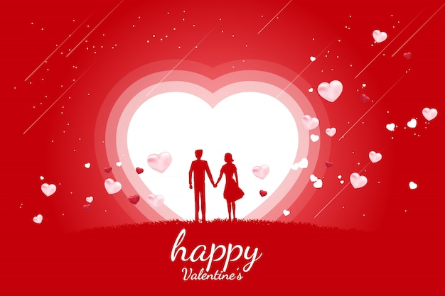 Lover couple holding hand with flying heart background