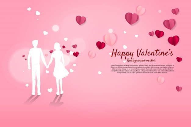 Lover couple holding hand with flying paper heart background