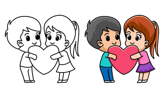 Lover couple hug heart together coloring page for kids