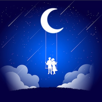 Lover couple siting together on swing under the moon.