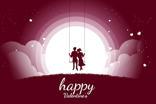 Lover couple siting together on swing in romantic scene with flying heart background. valentine's day and love and anniversary theme.