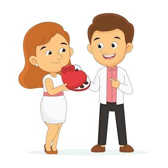 恋人がチョコレートフェスティバル、バレンタインデーを与える