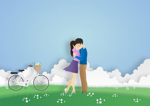Lover hugging in the meadow