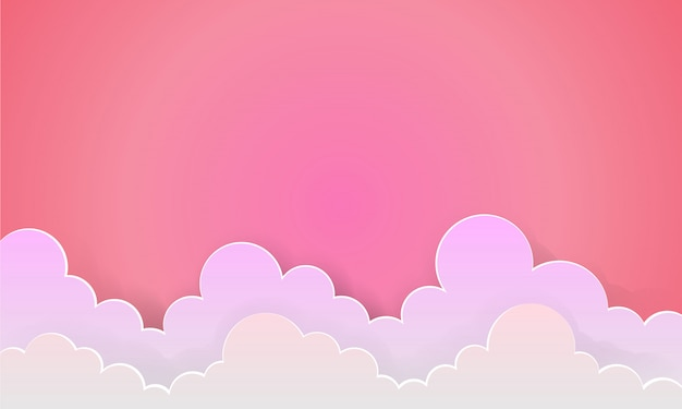 The lover pink sky and sunrise background as love paper art and craft style