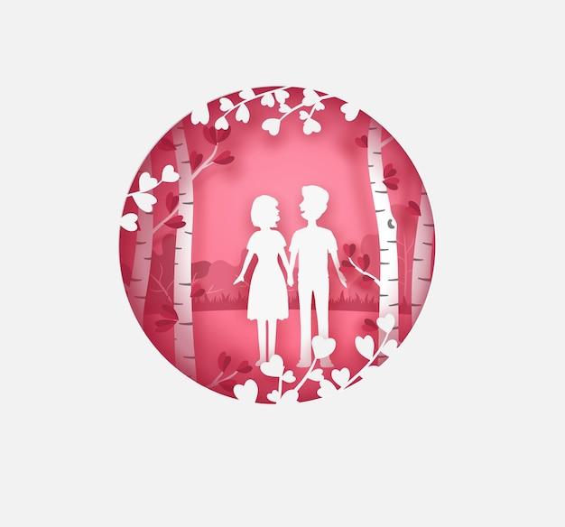 낭만적 인 정원에서 산책하는 연인. 원형 프레임 핑크와 화이트 컬러로 발렌타인 카드.