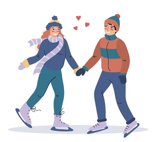 연인과 행복한 젊은이들이 스케이트를 타고 있습니다. 동계 스포츠. 플랫 스타일의 귀여운 다채로운 캐릭터.