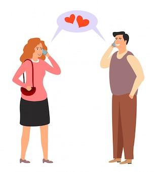 恋人たちは電話で話している。オンラインデートのイラスト。距離愛。現代の関係