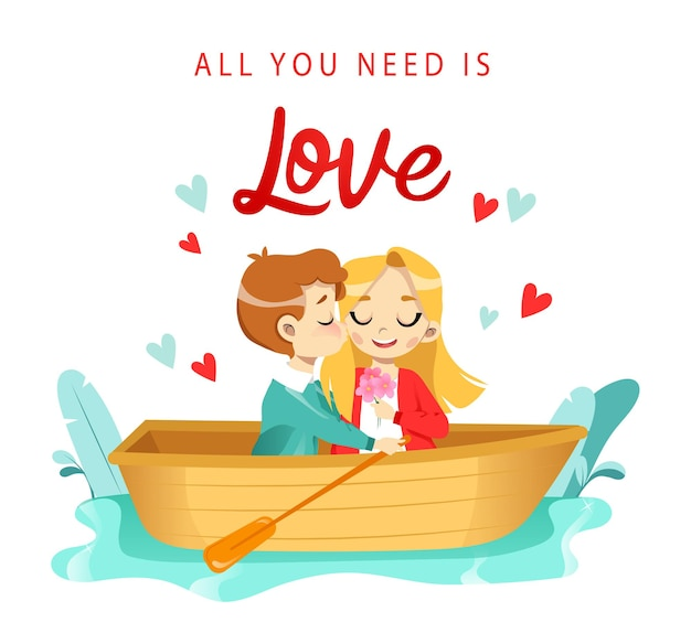 Любители мультфильмов мужчина и женщина на лодке по реке