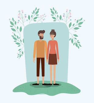 Lovers couple in the grass with leafs frame
